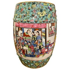 Floral and Figure Decorated Chinese Garden Stool Porcelain