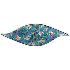 Floral and Turquoise Ceramic Fruit Platter by Manufacture of Longwy Enamels