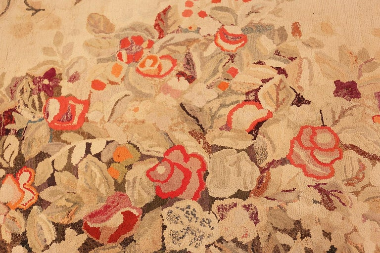 Floral Antique American Hooked Rug For Sale 1