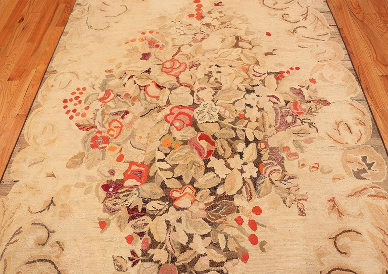 Floral Antique American Hooked Rug For Sale 2