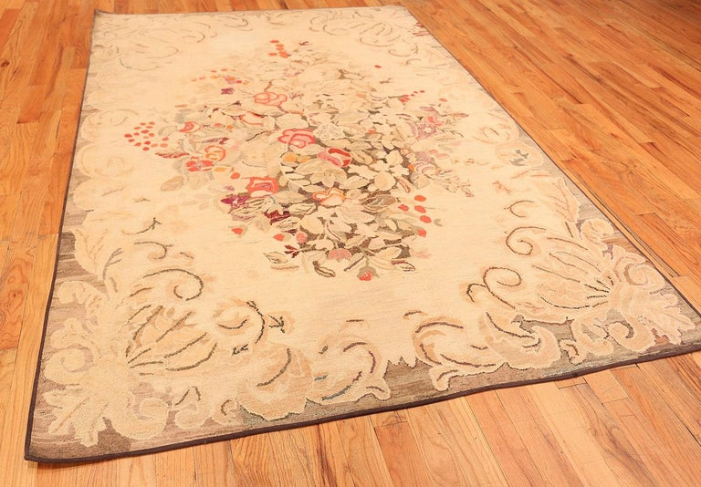 Floral Antique American Hooked Rug For Sale 3
