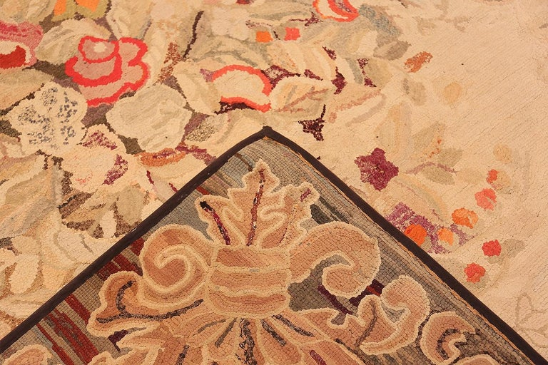 Floral Antique American Hooked Rug For Sale 5