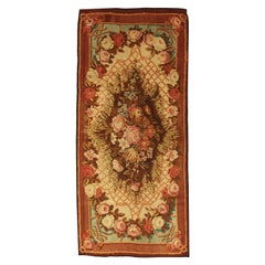 Floral Antique English Multicolor Wool Axminster Rug, ca. 1880