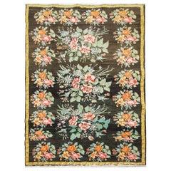 Floral Antique Kilim Rug, Handmade Carpet and Handwoven Rug in Karabagh