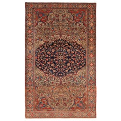 Floral Antique Persian Mishan Malayer Rug. 4 ft x 6 ft 3 in