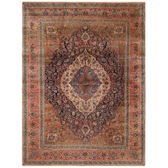 Floral Antique Persian Mohtasham Kashan Rug. Size: 10 ft 10 in x 14 ft 7 in