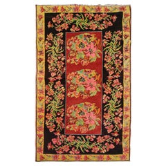 Floral Antique Rug, Handmade Carpet and Handwoven Rug Oriental Carpet