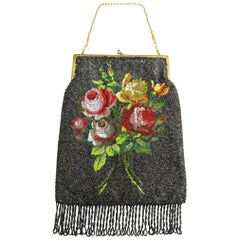 Floral Beaded Flapper Silk Hand Bag Antique