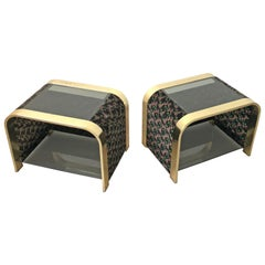 Floral Bedside End Table in Brass, Velvet and Glass, Attributed to Romeo Rega