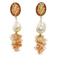 Floral Bells & Pearl Earrings