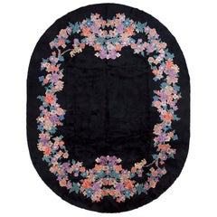 Floral Black Chinese Art Deco Rug