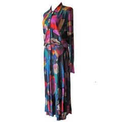 Floral Blue Green Vintage Maxi Dress 1970s