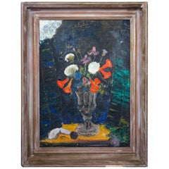 Floral Bouquet In Moonlight Still Life Oil Painting