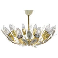 Floral Brass Sputnik Ceiling Lamp by Vereinigten Werkstätten München, 1950s