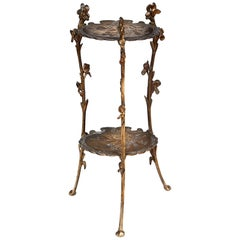 Floral Brass Two-Tier Plant Stand