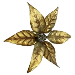 Floral Brutalist Brass Metal Wall Ceiling Light by Willy Daro Belgium, 1970s no2