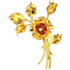 Floral Bundle Still Life Roses Brooch Pin 14 Karat