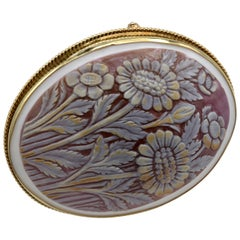 Floral Cameo Hand-Carved Shell Brooch/Pendant set in 14 Karat Gold