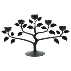 Floral Candleholder, Black, Iron Made, Northern Europe Mid-20th Century