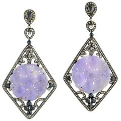 Floral Carved Lavender Jade with Lovely Diamond Detailed Earrings