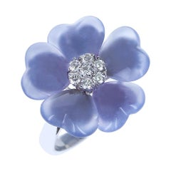 Floral Chalcedony Ring with Diamonds, 18K White Gold