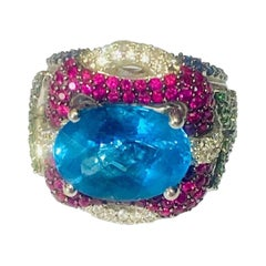 Floral Cocktail Ring, Emerald, Ruby, Diamonds, Sapphire and Blue Topaz