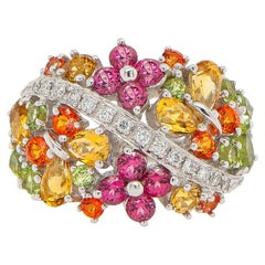 Floral Cocktail Ring Set with Multicolored Sapphires and Diamonds