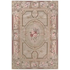 Floral Cream Needlepoint Chinese Tapestry Rug
