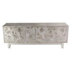 Floral Credenza in White Metal over Teak
