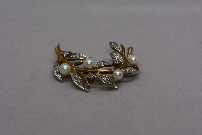 Modern Floral Cultured Pearl and Diamond 9 Karat Gold Brooch and Earrings For Sale