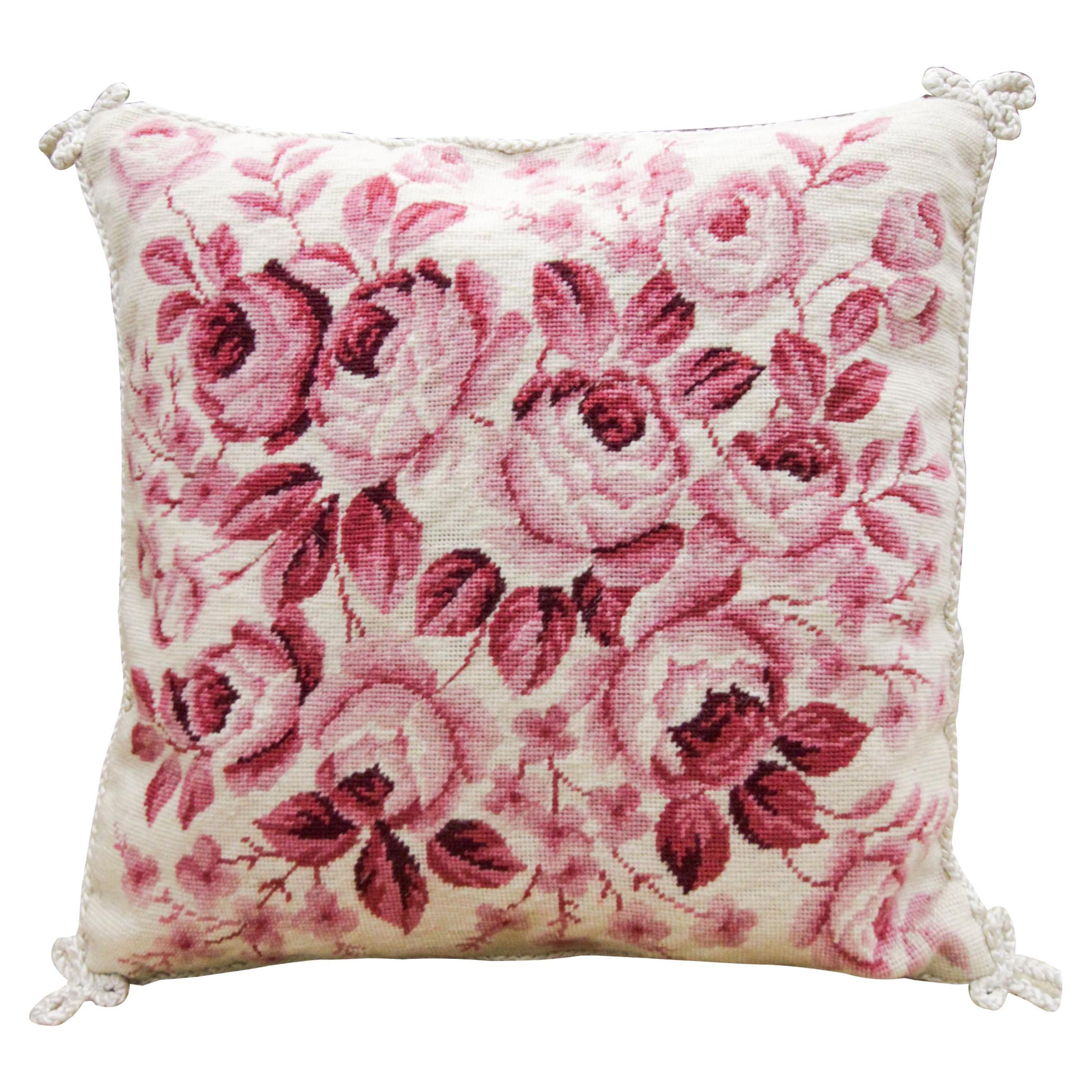 Floral Cushion Cover Hand Embroidered Pillow Case Pink Wool Scatter Cushion