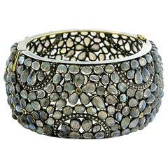 Floral Deisgn Labrodorite Cuff with Diamonds