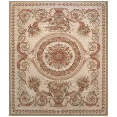 Floral Design Cream Needlepoint Chinese Rug
