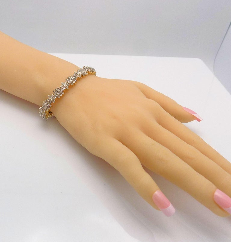 Floral Design Diamond Line Bracelet For Sale 3