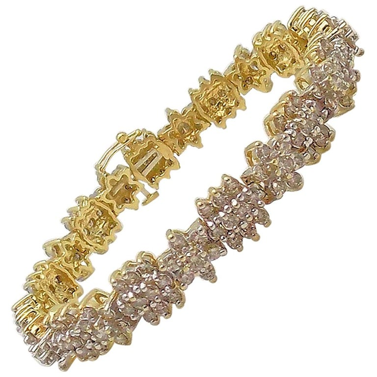Floral Design Diamond Line Bracelet For Sale