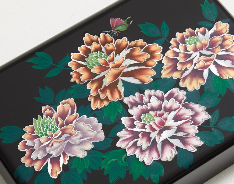 Modern Floral Design Mother of Pearl Lacquer Box with Peony Blossoms by Arijian For Sale