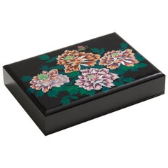 Floral Design Mother of Pearl Lacquer Box with Peony Blossoms by Arijian