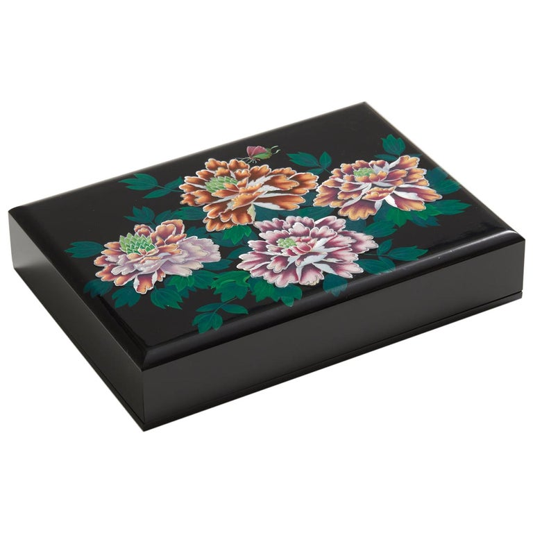Floral Design Mother of Pearl Lacquer Box with Peony Blossoms by Arijian For Sale