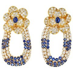 Floral Design Sapphire and Diamond Statement 18 Karat Yellow Gold Earrings