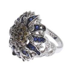 Floral Design Sapphire Diamond White Gold Cluster Ring