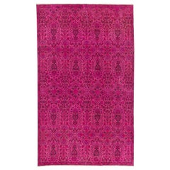 Floral Design Turkish Rug Overdyed in Fuschia Pink Color