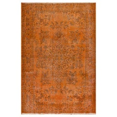 Floral Design Vintage Rug Overdyed in Orange Color