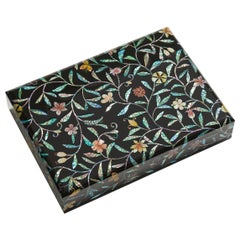 Floral Design Wooden Lacquer Document Box with Mother of Pearl Inlay by Arijian