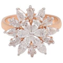 Floral Diamond 18 Karat Rose Gold Ring