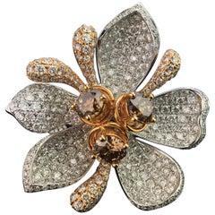 Floral Diamond and 18 Karat Gold Cocktail Ring