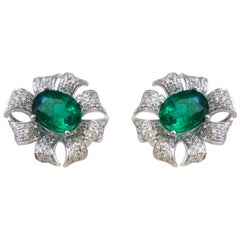 Floral Diamond and Emerald Stud Earrings