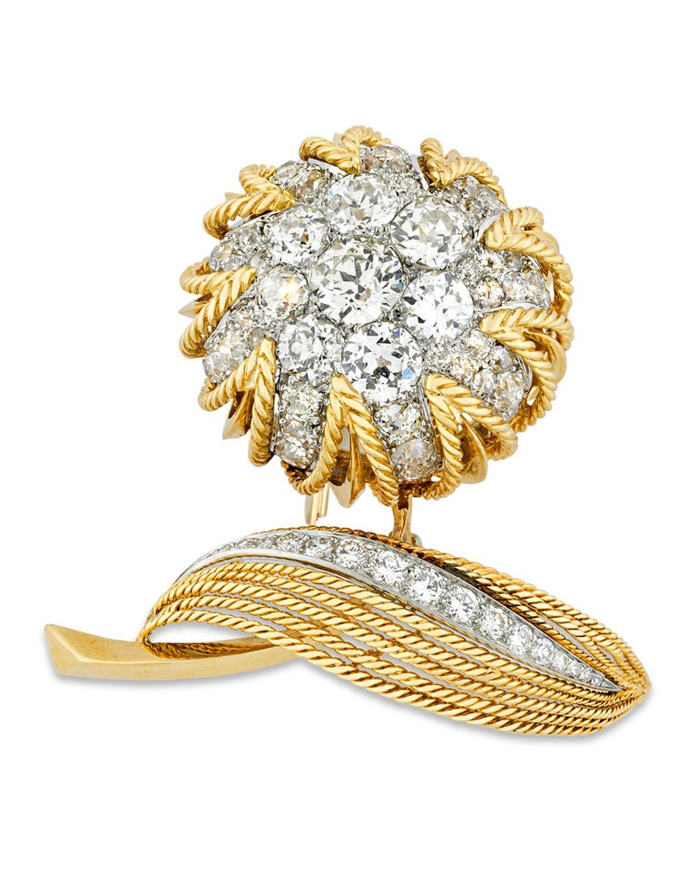 Modern Floral Diamond and Gold Brooch by Van Cleef & Arpels, 18.00 Carat For Sale