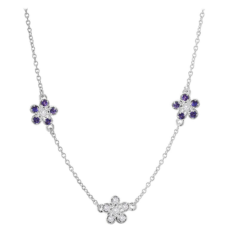 c8d52b5783895 Floral Diamond and Sapphire Three Charm Necklace Pendant