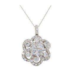 Floral Diamond Pendant Necklace in White Gold