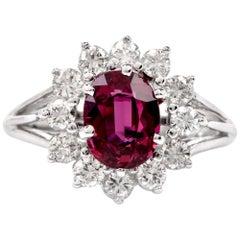 Floral Diamond Ruby 18 Karat White Gold Cocktail Ring